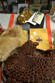 Sale 8563T - Lot 2343 - Group of Sundries incl. Ladies Purses, Hipflask, Seed Placemats, Fur Hat etc