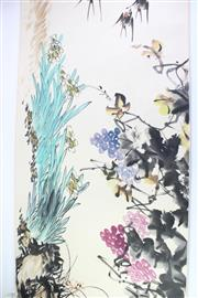 Sale 8827D - Lot 97 - Wan Gu Ye Large Chinese Scroll of Birds (Stamped)
