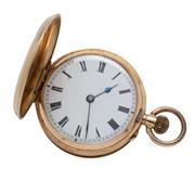 Sale 9029 - Lot 363 - AN ANTIQUE 14CT GOLD LADYS POCKET WATCH; white dial, Roman numerals, stem wind, push pin at 4 oclock, cylinder escapement, finely...