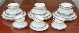 Sale 9098H - Lot 84 - A Noritake dinner and tea service for six with gilt motif comprising entree plates, dinner plates, soup coupes, soup plates, bread p.