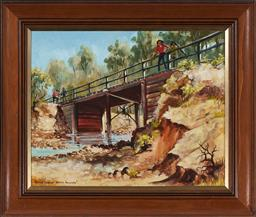 Sale 9150 - Lot 595 - ARTHUR HAMBLIN (1933 - ) Bridge Builders oil on canvas 39.5 x 49.5 cm (frame: 55 x 65 x 4 cm) signed lower left