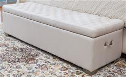 Sale 9162H - Lot 98 - A linen upholstered blanket box Height 43cm x Width x160cm Depth 47cm, some minor stains apparent