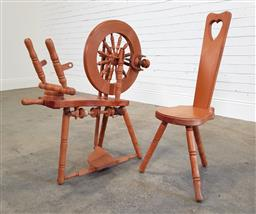 Sale 9174 - Lot 1316 - Tasmanian Huon Pine spinning wheel Together with matching stool (h:90 x l:92cm)
