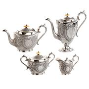 Sale 8000 - Lot 139 - A Victorian James Dixon and Sons silver plated four piece tea and coffee service with ivory knobs (pot lid hinge a/f).