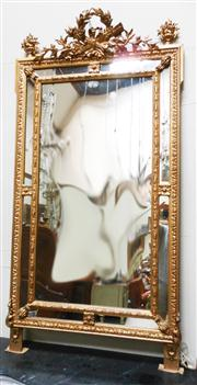 Sale 8298 - Lot 34 - A large antique French gilt over mantle mirror  180 cm x 90 cm