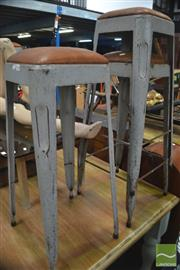 Sale 8338 - Lot 1184 - Set of Six Stacking Metal Stools with Leather Seats