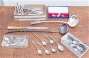 Sale 8440A - Lot 54 - A quantity of silver plate utensils including coffee spoons, pastry forks, ladle, cake knife and toddy ladle
