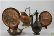 Sale 8505 - Lot 63 - Copper Scuttle Together With Copper Dishes Etc