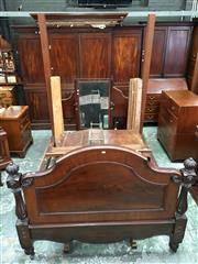 Sale 8666 - Lot 1032 - Victorian Mahogany Half Tester Bed, the new post and bedhead with D shaped canopy, the shaped footboard with turned carved posts (...