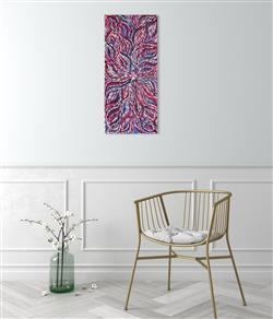 Sale 9092A - Lot 5099 - Janet Golder Kngwarreye (1973 - ) - Yam Leaf 95 x 42 cm (stretched and ready to hang)