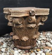 Sale 8857H - Lot 36 - A Carved Genuine Stone Column Capital Top ,General Wear , slight Chipping ,Natural Stone Crack Line ,Marks , Size 35cm H ,