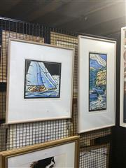 Sale 8898 - Lot 2038 - Jock W. Young (2 works) Moored Boats & Race, hand-coloured linocuts, editioned, 91 x 47 cm, 63 x 54 cm, each signed and dated
