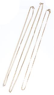 Sale 9012 - Lot 306 - THREE 9CT GOLD CHAINS; rectangular trace links, 45cm, 2 Gucci style links, 50 & 45cm, all with bolt ring clasps, total wt. 8.32g.