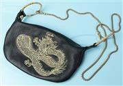Sale 9090F - Lot 174 - A CAMILLA EVENING BAG; in black leather with golden dragon embroided to front and gold chain strap