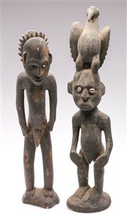 Sale 9086 - Lot 38 - Pair of cultural timber figures (H48cm & 44cm, some minor losses)