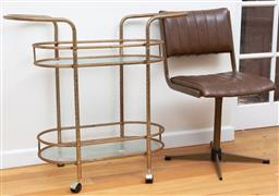 Sale 9190H - Lot 471 - A vintage drinks trolley with glass shelves Height 76cm x Width 94cm Depth 36cm together with a retro swivel chair. Rust.