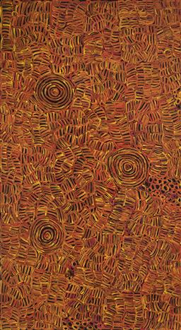 Sale 9239A - Lot 5073 - BETTY MBITJANA (1945 - ) Awelye acrylic on canvas 200 x 110 cm (stretched and ready to hang) certificate of authenticity with holdin...