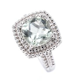 Sale 9253J - Lot 444 - A SILVER GREEN AMETHYST AND DIAMOND COCKTAIL RING; cushion shaped top featuring a cushion cut green amethyst to double surround and...