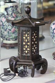 Sale 8160 - Lot 17 - Rosewood Carved Table Lamp