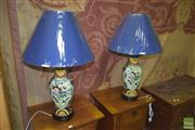 Sale 8359 - Lot 1707 - Pair of Polychrome Hand Painted Pair of Table Lamps (3393)