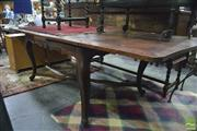 Sale 8390 - Lot 1079 - Antique French Oak Parquetry Top Extension Dining Table, with draw leaves, on cabriole legs joined by stretchers