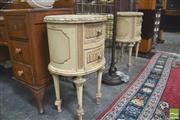 Sale 8418 - Lot 1037 - Pair of Oval French Style Bedside Cabinets