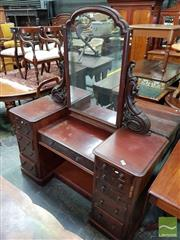 Sale 8485 - Lot 1066 - Victorian Mahogany Double Pedestal Dressing Table, with carved supports & eleven drawers