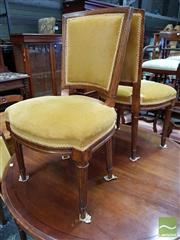 Sale 8485 - Lot 1046 - Good Set of Six Victorian Oak Dining Chairs, fully upholstered in gold corduroy, with square backs & turned fluted legs