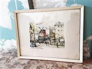 Sale 8500A - Lot 40 - A vintage French Moulin Rouge scenic wall print - 26cm wide x 20cm high