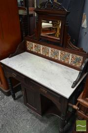 Sale 8520 - Lot 1002 - Edwardian Kauri Pine Washstand with Adjustable Mirror, Tiled Back and Marble Top with Two Drawers and Cupboard Below