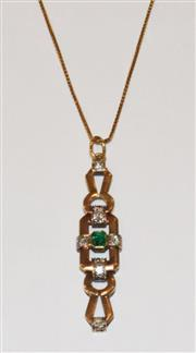 Sale 8593A - Lot 135A - A 14ct gold emerald and diamond pendant (Drop 5cm) on an 18ct gold chain (L 60cm)
