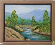 Sale 8600 - Lot 2026 - B M Brennan - River and Mountains  acrylic on canvas board, 47.5 x 57.5cm, signed lower right