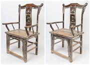 Sale 8630A - Lot 10 - A pair of Chinese Scholar Chairs indicative of the Qing Dynasty (19th century), each with a distressed white painted finish, H 116 x...