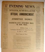 Sale 8639 - Lot 9 - Special War Bulletin Official Announcement Armistice Signed, Commemorative Edition of Evening News of Sydney in miniature for Monday...