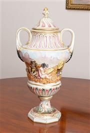 Sale 8774A - Lot 303 - A Capodimonte lidded baluster trophy form vase with typical decoration H x 42cm