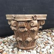 Sale 8857H - Lot 37 - A Carved Genuine Stone Column Capital Top ,General Wear , slight Chipping ,Natural Stone Crack Line ,Marks , Previous Repair ,Size 3...