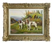 Sale 8980J - Lot 61 - Morey, Belgium, early C20th School Spaniels oil on canvas 38 x 55 cm  signed