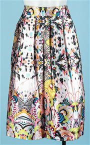 Sale 9090F - Lot 31 - A GABRIELLA FRATTINI KNEE LENGTH SKIRT; with multicoloured prints of gemoetric design, Size 10