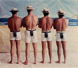 Sale 9109 - Lot 516 - Anne Zahalka (1957 - ) Beach Inspectors, 1989 C Type Photograph 51 x 58.5 cm (frame: 66 x 80 x 2 cm) signed, dated and titled