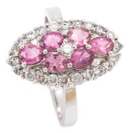 Sale 9128J - Lot 7 - A 14CT WHITE GOLD DIAMOND AND GEMSET RING; navette shape cluster centring a round brilliant cut diamond and 6 oval cut pink tourmali...
