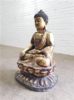 Sale 9142 - Lot 1092 - Large Gilt Brass or Bronze Buddha, seated in mudra on a lotus throne (H:99 x W: 68 x D: 54 cm)