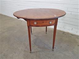 Sale 9162 - Lot 1035 - George III Mahogany Pembroke Table, the oval top with satinwood banding, single frieze drawer & tapering legs, purchased London (h:7...