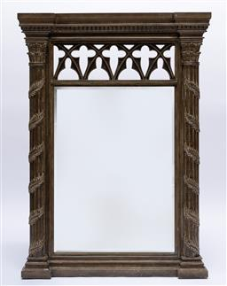 Sale 9200P - Lot 82 - A good quality Gothic style pier mirror, Height 147cm x Width 107cm