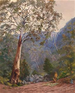 Sale 9256A - Lot 5095 - MARY BARKER - Picnic at the Foot of Mt Buffalo, Vic 54.5 x 44.5 cm (frame: 69 x 569 x 4cm0