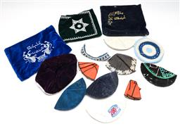 Sale 9253 - Lot 150 - A group of eleven kippahs together with three Jewish velvet pouches (L:24cm - largest)