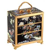 Sale 8000 - Lot 172 - A Chinese gilt bronze and cloisonné miniature chest of drawers, panels well executed with peacock amidst flowers.