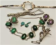 Sale 7988 - Lot 302 - A GROUP OF SILVER JEWELLERY; a bracelet set with malachite, amethyst and marcasite ear clips, marcasite spray brooch, chrysoprase an...