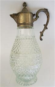 Sale 8298 - Lot 88 - Antique French cut glass and silver plate ewer     Overall Ht: 31 cm