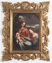 Sale 8435A - Lot 75 - School of Parma, C17th - The Mystical Marriage of Saint Catherine total H 95 x W 75cm