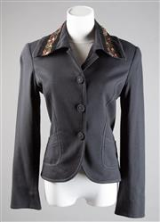 Sale 8499A - Lot 77 - A Cue long-sleeved single breasted black jacket with velvet, beaded and  sequined collar. Front pockets Size 6.